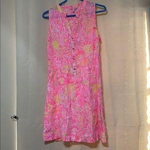 Lilly  Pulitzer Sleeveless Dress Pin/Yellow Sun EC